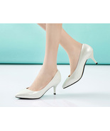 clearing sales Lady's mid-heel pump, 6.5 cm, size 38, white - $32.80