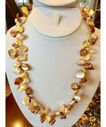 "Golden Bronze Keshi Pearl Necklace 20"" Freshwater Sterling silver baroqu... - $41.83"