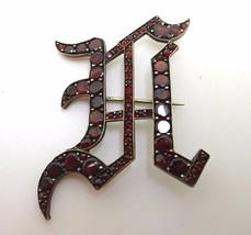 """Genuine Natural Bohemian Garnet Old English """"U"""" Initial Pin (#3743) - $213.75"""