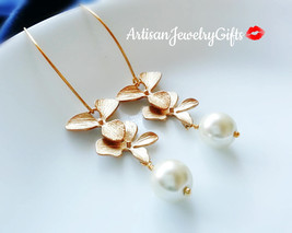 Gold Orchid Pearl Earrings Orchid Pearl Earrings Bridal Earrings Orchid ... - $48.00