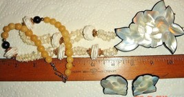 VTG INLAY MOTHER OF PEARL HUGE CARVED FLORAL FLOWER LUCITE NECKLACE EARR... - $187.99
