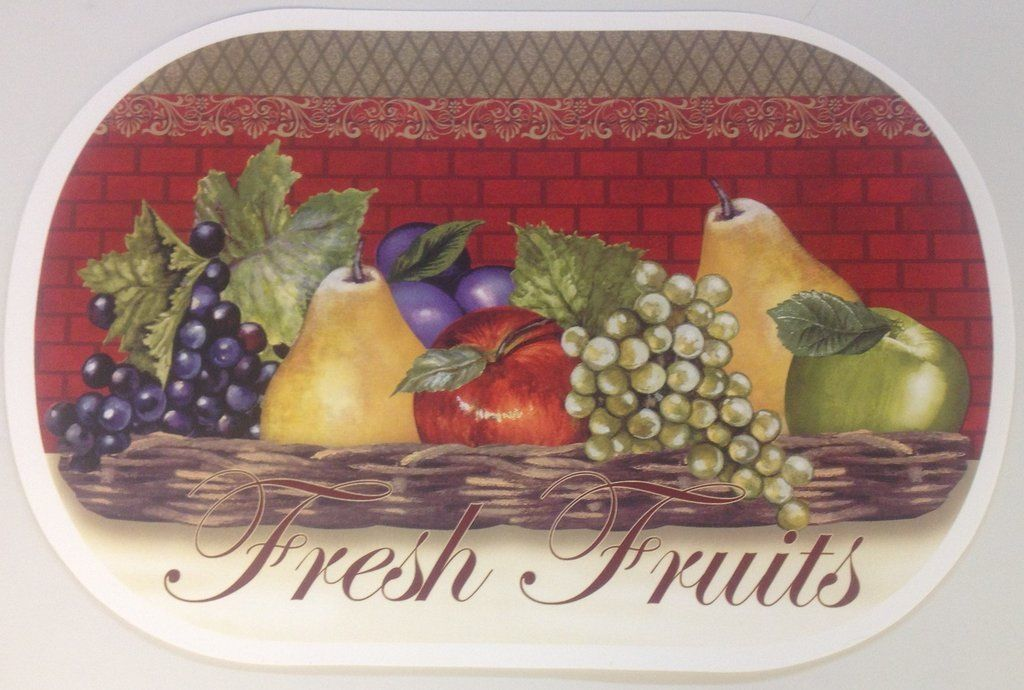 """Set of 3 Kitchen Vinyl NON CLEAR OVAL Placemats (18"""" x 12"""") FRESH FRUITS by BH - $12.86"""