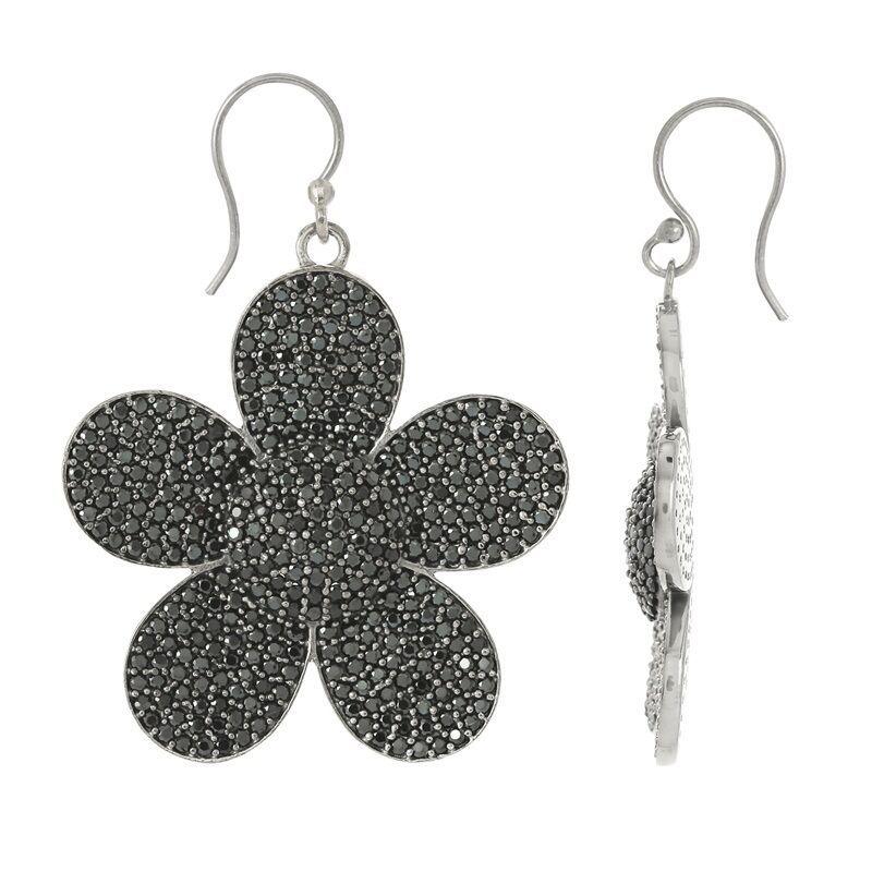 Dasiy Flower Floral Round Black Spinel Gemstone 925 Sterling Silver Earring
