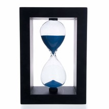 Bellaware 60 Minutes Hourglass, Black Wooden Frame Blue Sand Timer - $26.56