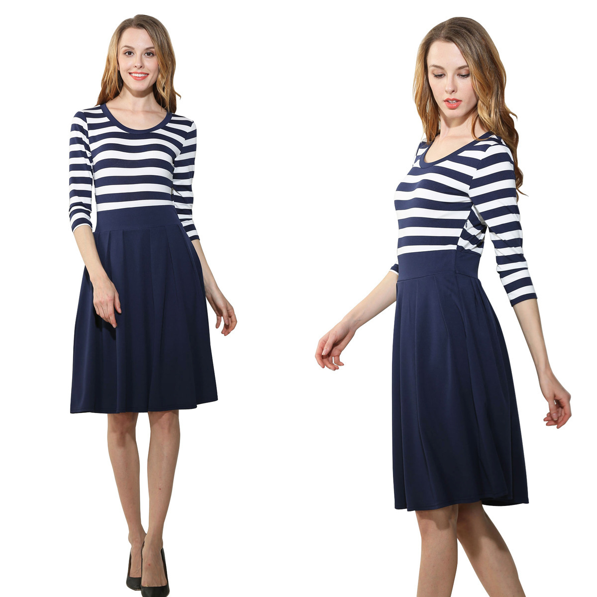 Primary image for Women's Stripe Scoop Neck Short 3/4 Long Sleeve Casual Swing Modest Dresses