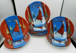 Vtg SANTA ON ICE Certified International Dinner + Salad Plates Jan Pashley 2003  - $119.99