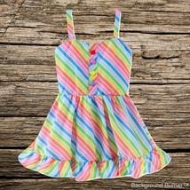 NWT Rainbow Striped Girls Sleeveless Ruffle Dress 2T 3T 4T 5T - $10.99