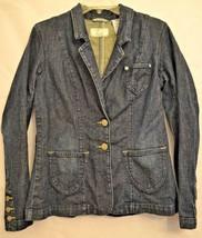 Levi's Jeans Womens 2 Button Denim Jacket Blazer Dark Wash Size Medium - $17.99