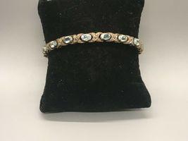"Pretty Vintage 7"" Sterling Silver and Blue Topaz Bracelet Signed XOX image 4"