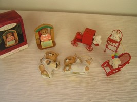 Lot of 6 Homco Porcelain White Spark Angel Red Metal w White Flocked TEDDY BEAR  - $13.99