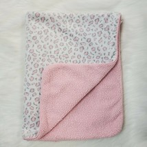 Just Born Leopard Cheetah Baby Blanket Sherpa Security Girl Pink White B350 - $17.99