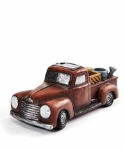 "10"" Long Red Antique Truck Planter Design w Solar Powered Headlights Pol... - $45.53"