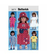 Butterick 3875 18″ Doll Clothes Dresses Tops Pants Hat Bridal Set Uncut ... - $12.71