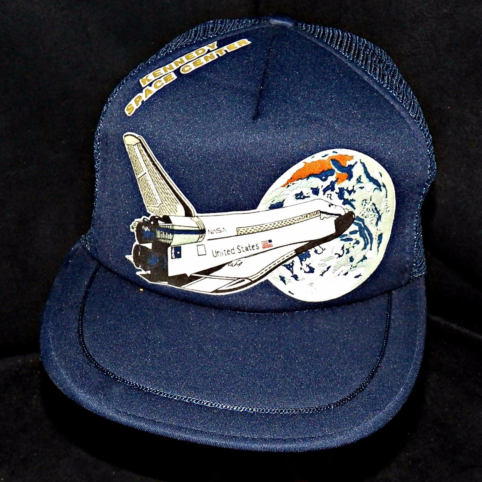4c7a34c8a97 1980s Vintage Nasa Kennedy Space Center Shuttle Mesh Snapback Trucker Cap  Hat