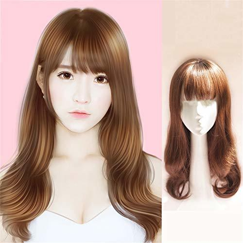 Long Wavy Topper Hairpieces With Bangs Clip In Synthetic