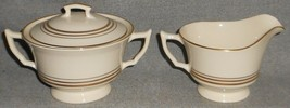 Syracuse Old Ivory Nimbus Pattern Creamer & Sugar w/Lid Made In Usa - $29.69