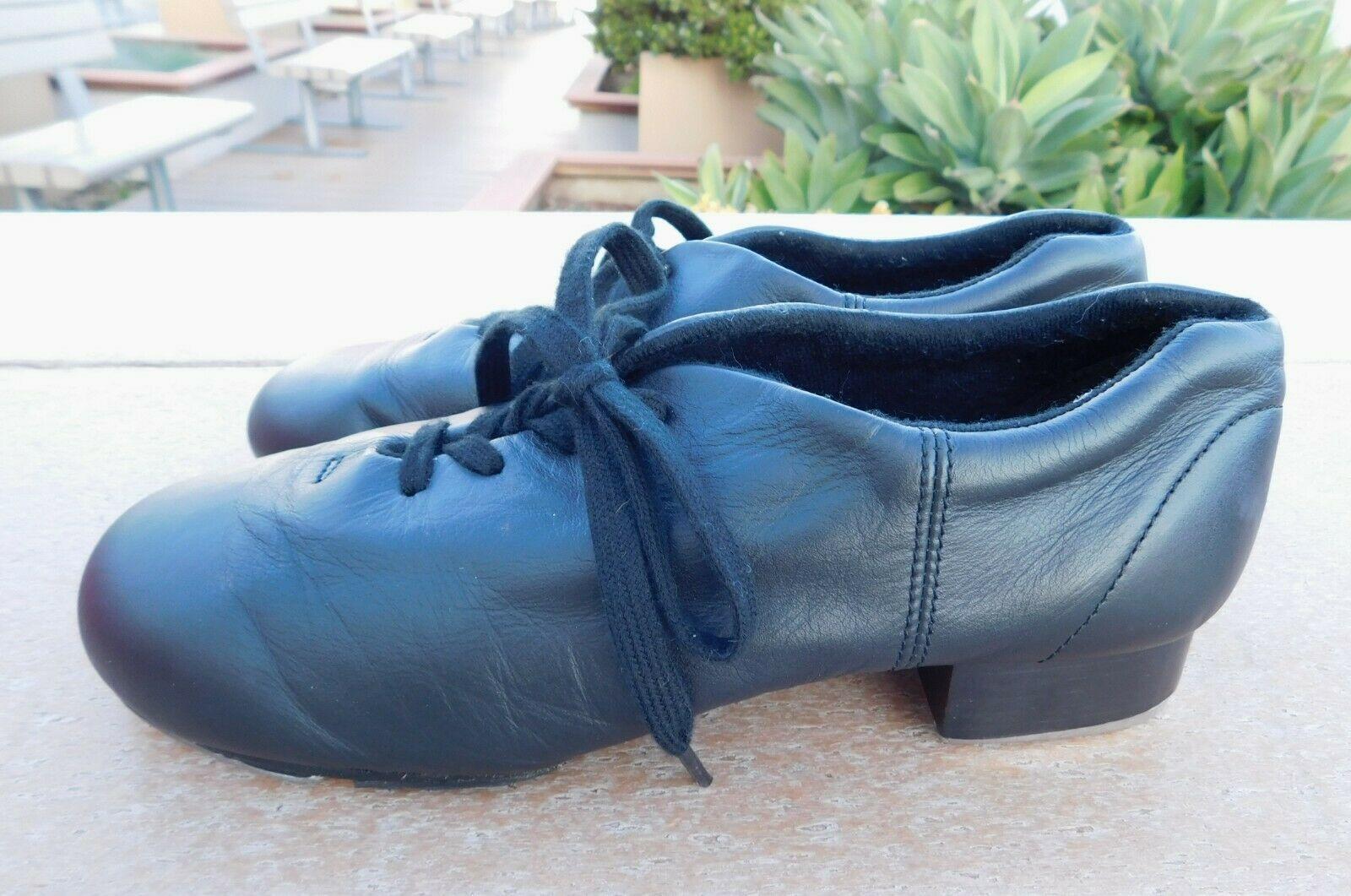 Capezio Tele Tone Black Tap Dance Shoes Lace Up Leather 7 M