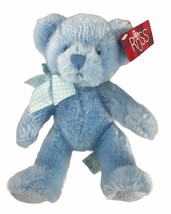 "Russ Berrie Teddy Bear Rory Blue 8"" Plush Rattle - $18.80"