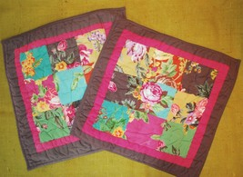 "Pair of THE COMPANY STORE ""Vivian"" Small Euro 16"" Pillow Shams Patchwork... - $49.49"