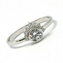 SOLID 18K WHITE GOLD RING, SUN, CROWN, EYE, CUBIC ZIRCONIA, MADE IN ITALY image 1