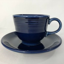Fiesta Cobalt Blue Cup And Saucer Set Contemporary Fiestaware Coffee Tea - $9.85