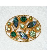 VINTAGE AUSTRIAN MADE GREEN BLUE IRIDESCENT RHINESTONE GOLD-TONE PIN BRO... - $34.99