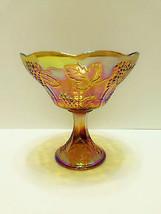 Carnival Glass Pedestal Compote Bowl Dish Iridescent Amber Marigold Grapes - $26.55