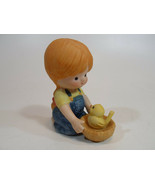 Country Cousins Figurines Enesco Vintage Porcelain Girl with bird nest - $9.95