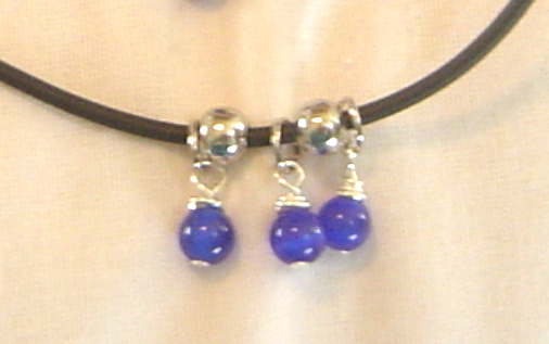 Handcrafted Royal Blue Beaded Necklace and Earrings New