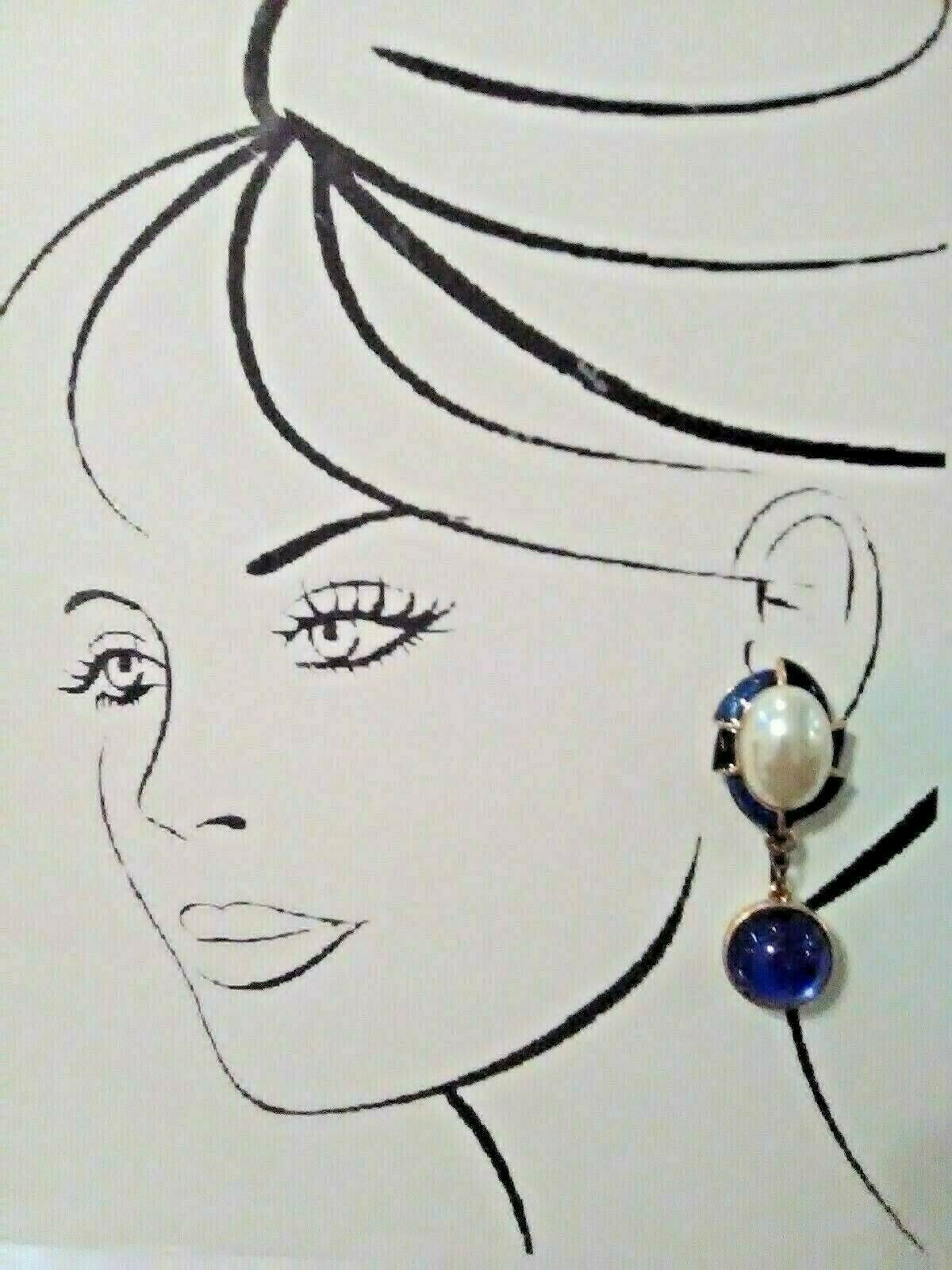 Primary image for VINTAGE CLIP DANGLE EARRINGS BLUE BLK ENAMEL FAUX MABE PEARL & REVERSIBLE DROP