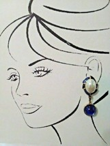VINTAGE CLIP DANGLE EARRINGS BLUE BLK ENAMEL FAUX MABE PEARL & REVERSIBL... - $45.00