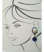 VINTAGE CLIP DANGLE EARRINGS BLUE BLK ENAMEL FAUX MABE PEARL & REVERSIBL... - $45.00