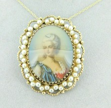 14k Yellow Gold Pendant with Hand Painted Portrait and Pearls (#J1896) - $1,095.00