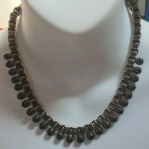Vintage signed T Gun Metal Hematite Black Glass Bead Chain Link Necklace - $51.48