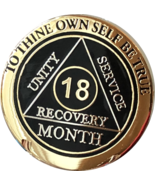18 Month AA Medallion Elegant Black Gold & Silver Plated Sobriety Chip C... - £11.72 GBP