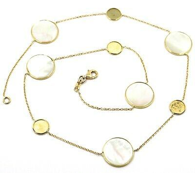 """18K YELLOW GOLD NECKLACE, FLAT MOTHER OF PEARL ALTERNATE DISCS, 17.3"""", 44cm"""