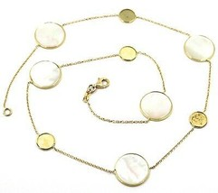 """18K YELLOW GOLD NECKLACE, FLAT MOTHER OF PEARL ALTERNATE DISCS, 17.3"""", 44cm image 1"""