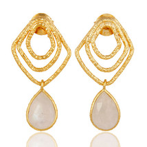 Gemstone Womens Dangle Earrings Fashion 18k Gold Plated Silver Jewelry - $26.00