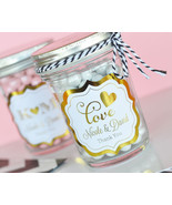 25 Personalized Gold or Silver Foil Mason Candy Jar Bridal Wedding Favor - $61.28
