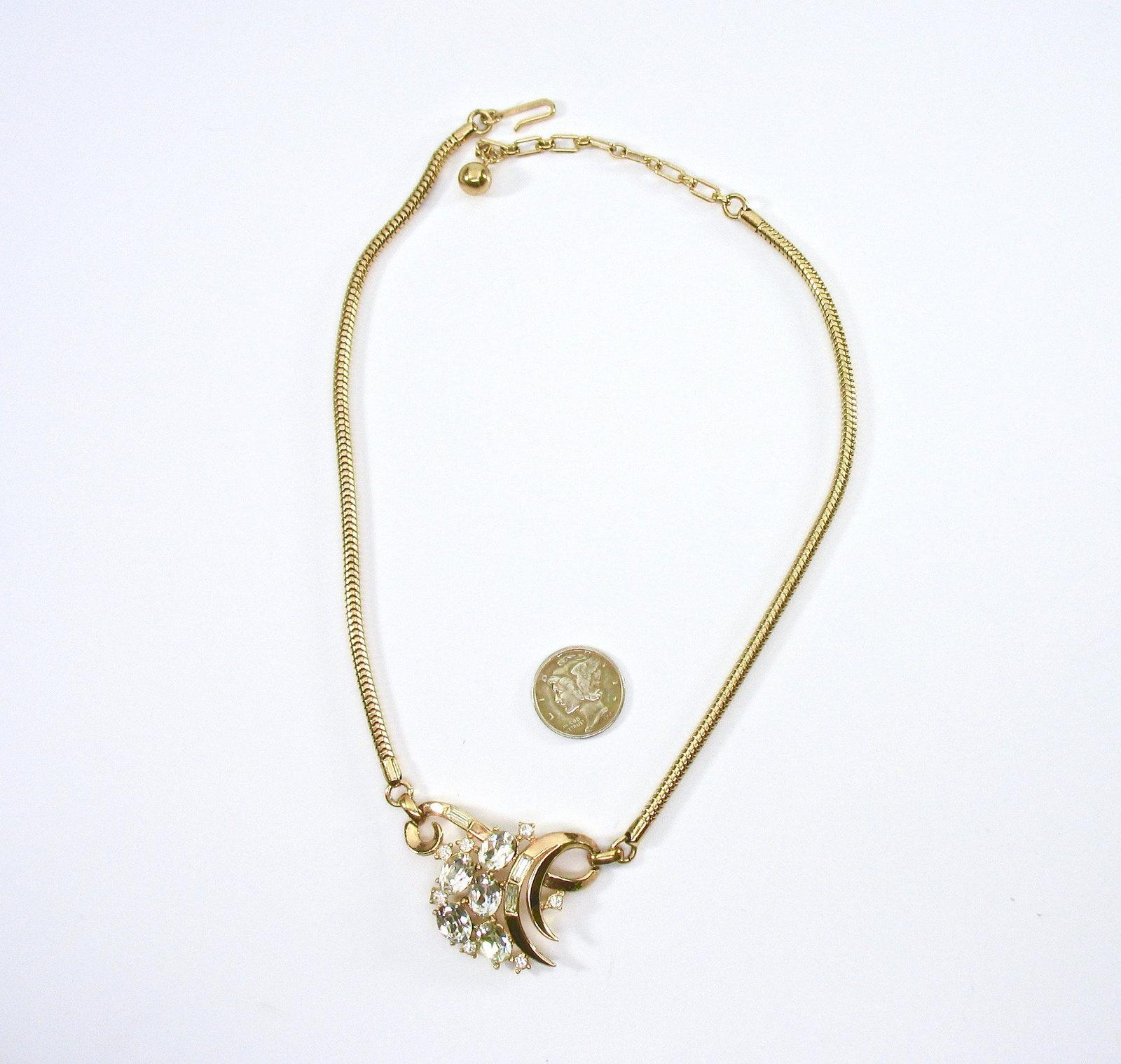 Rhinestone Necklace, Clear Baguettes, Lavalier, Flexible, Mid-Century, 1950's, H