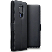 Huawei Mate 20 X  Real Leather Wallet  Shockproof  Fitted ION Case Black - $42.16
