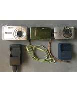 3 Digital Cameras & 2 Battery Chargers Canon Fujifilm Finepix • FOR PART... - $19.75