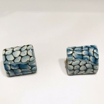 "Vintage 1"" Square Dome Blue Snake Print Lucite clip on earrings J6716 - $14.24"