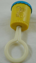 "Vintage Baby Rattle 1977 First Years Kitty Cat Yellow Blue Topper 6"" - $14.84"