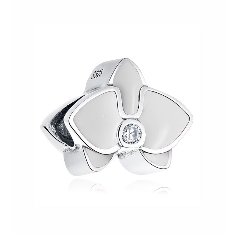 Buy Original 100% 925 Sterling Silver Bead Charm Orchid Pendant Charms Enamel