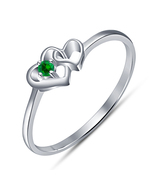 14k White Gold FN. 925 Silver Double Heart Shape Ring Round Cut Green Sa... - $53.42