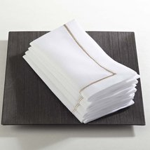 Fennco Styles Embroidered Line Design Napkins, Set of 4, Many Colors (Ch... - $24.74