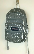 JanSport Big Student Backpack Gray White Polka Dot Padded Ergonomic Preo... - $16.82
