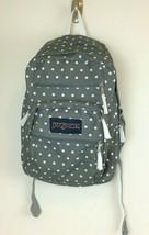 JanSport Big Student Backpack Gray White Polka Dot Padded Ergonomic Preowned GUC - $16.82
