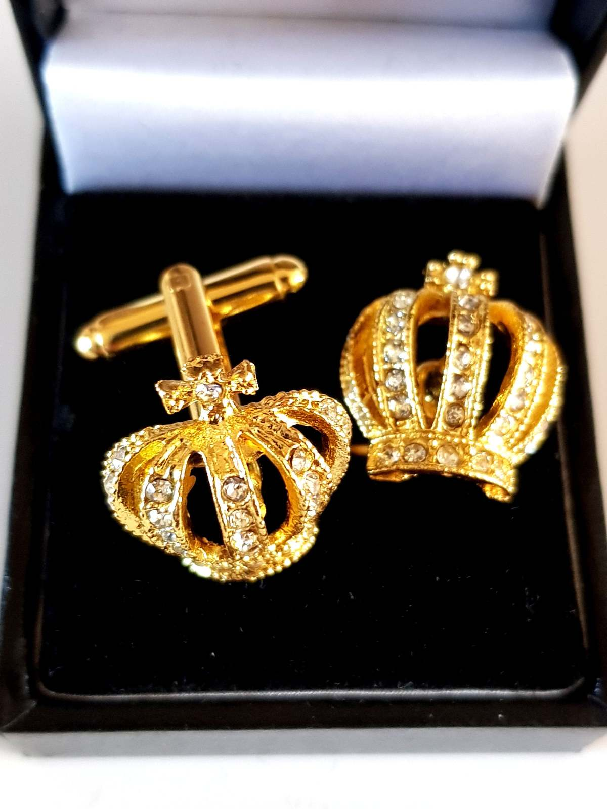 xmas sale gold and crystal half crown Cufflinks cuff link design . gift boxed